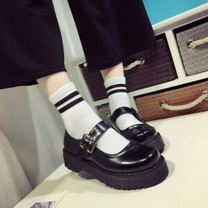 Women-039-s-Round-Toe-Mary-Jane-Shoes-Ankle-Buckle-Pumps-Casual-Platform-Creepers