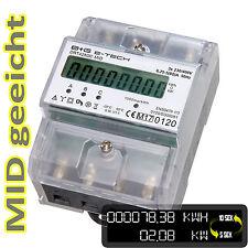 LCD Drehstromzähler Stromzähler MID geeicht mit S0 für Hutschiene 3x5(80)A 400V