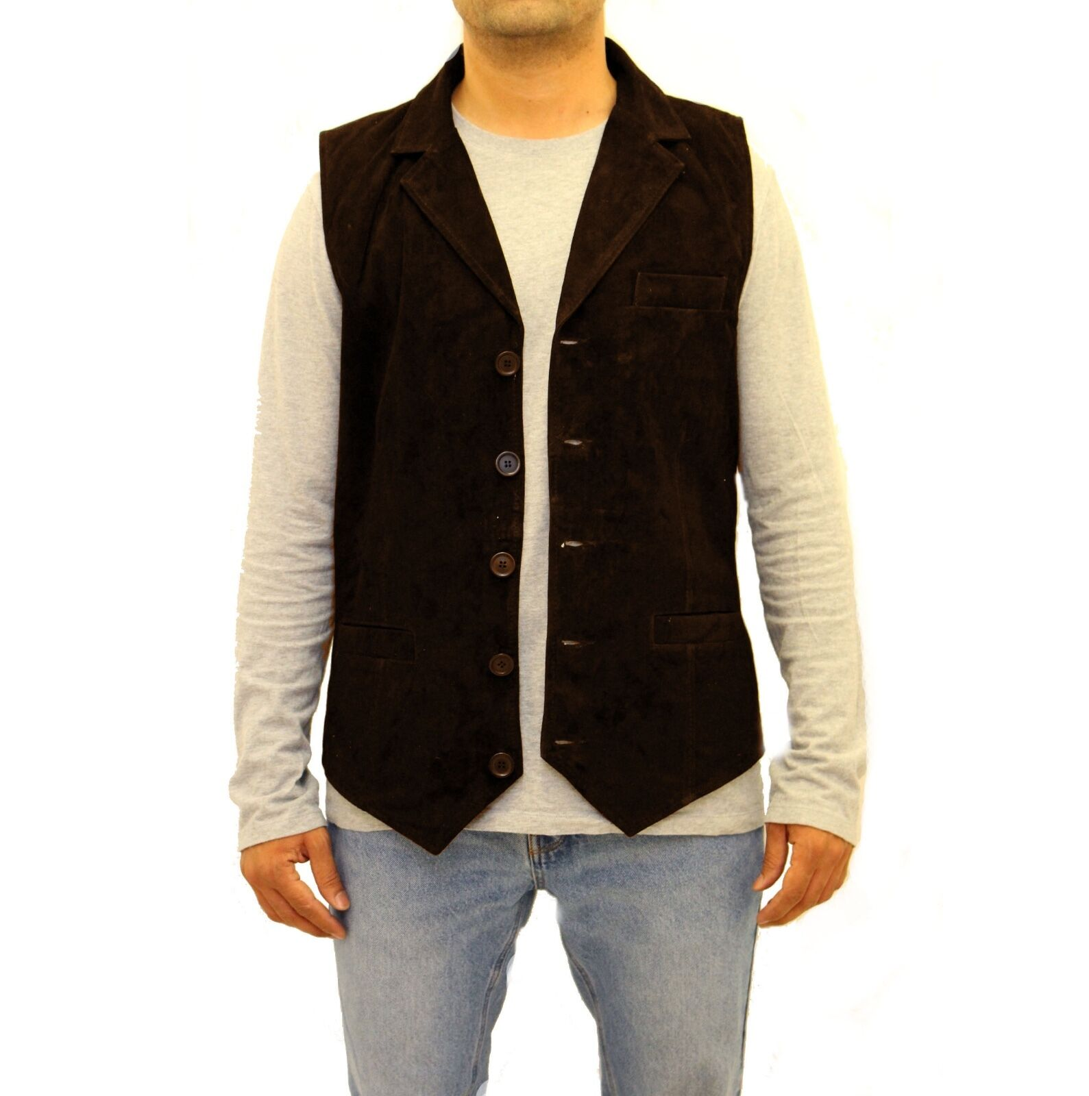 Herren Dark Braun Suede Smart Five Button Classic Leder Blazer Style Waistcoat