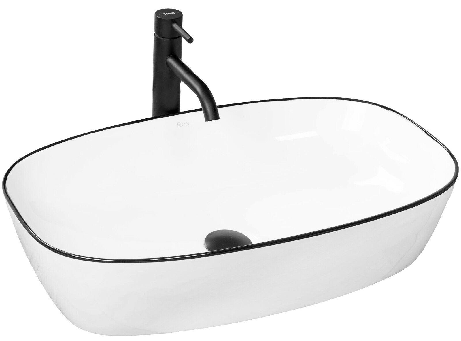 Lavabo REA In Ceramica - JOVITA - Lavandino Da Appoggio Bianco