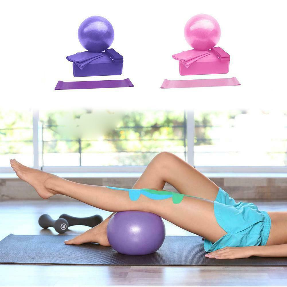 5pcs Yoga Set Yoga Ball+Yoga Block+Yoga Cotton Strap+Stretching Band+Loop Band