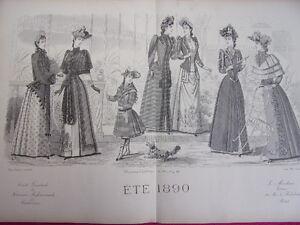 74/ Gravure De Mode Eté 1890 35x52