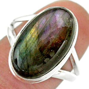 10.41cts Natural Labradorite Spectrolite Silver Solitaire Ring Size 8 T41698