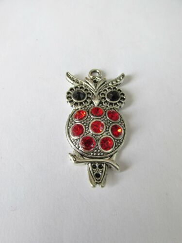 5pcs 47mm red rhinestone owl pendants jewellery making craft UK