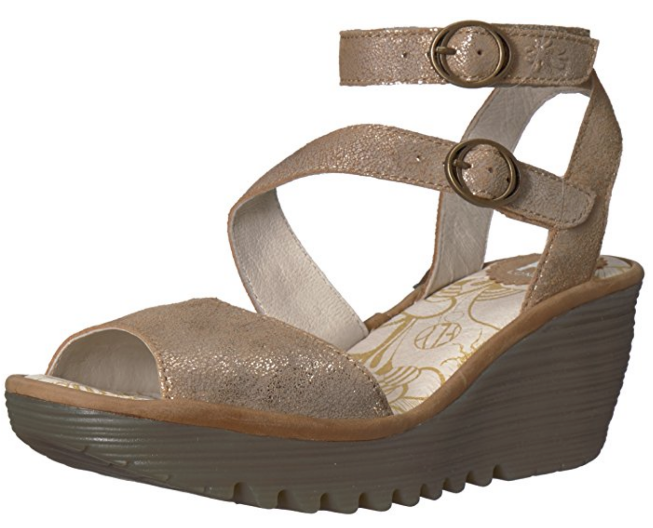Fly London Yisk LUNA gold Camel Leather Ankle Strap Wedge Sandals 9-9.5 EU 40