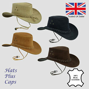 Image is loading Australian-Cowboy-Hat-Real-Suede-Leather-Bush-Outback- bb89fc6c306
