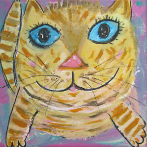 The Marmalade Cat:  an original painting on canvas by Jenny Hare