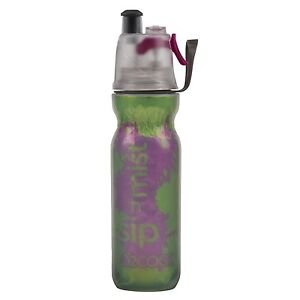 NEW O2Cool Classic Double Wall Mist N Sip Water Bottle Green FREE SHIPPING