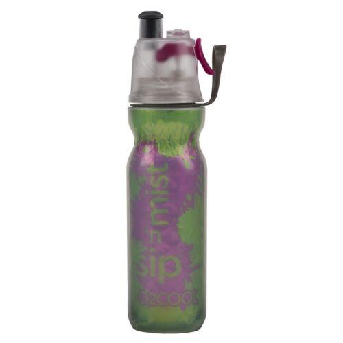 New O2Cool Double Wall Mist 'N Sip Water Bottle Green with Purple Splash