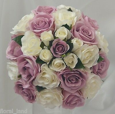SILK BRIDE WEDDING BOUQUET ARTIFICIAL ROSE FLOWERS WHITE LILAC ROSES POSY 26CM
