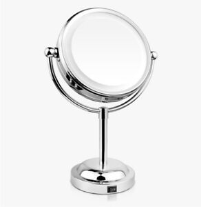 Mia 10x 1x Cordless Led Lighted Vanity Mirror Polished