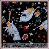 BonEful Fabric FQ Cotton Quilt VTG Antique B&W Xmas Angel Gold Swirl Music Star