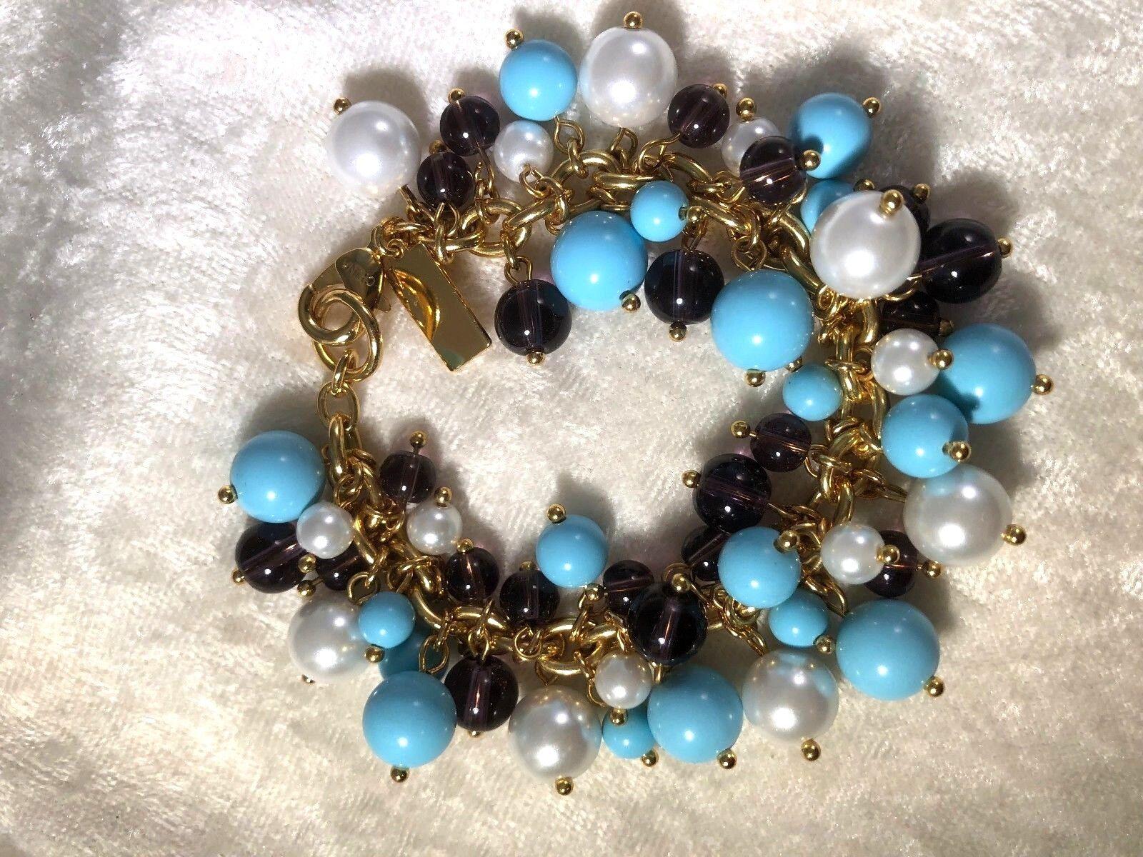 ELIZABETH TAYLOR blueE & PURPLE CLUSTER BEAD BRACELET, SMALL (M1005-58)