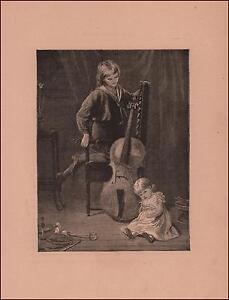 BOY-PLAYING-CELLO-LITTLE-GIRL-LISTENS-ANTIQUE-ENGRAVING-ORIGINAL-1885