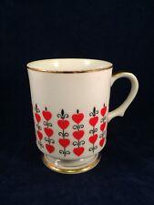 RELPO 6906 Cup Made in Japan Queen Of Hearts Fleur de Lis Footed Pedestal MUG