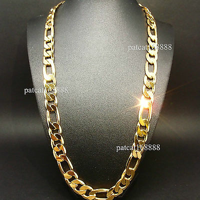 """30""""inch heavy 119g 12mm 18k yellow gold filled men's necklace curb chain jewelry"""