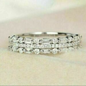 2Ct Round Cut VVS1 Diamond Half Eternity Wedding Band Ring 14K White Gold Finish