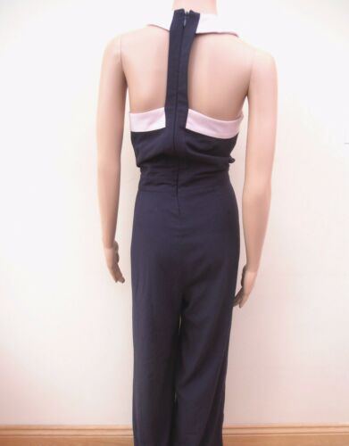 Next Navy Blue Pink Trim Jumpsuit Sz UK 6 8 10 12 14 regular ** SALE**