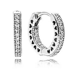 b2eaf4d6a New! Authentic Hearts of PANDORA Hoop Earrings, 925 Silver, Clear CZ ...