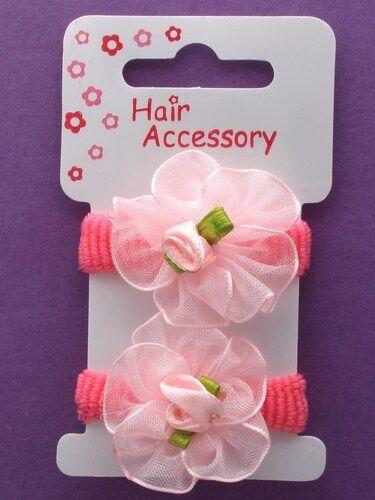 TINY BABY GIRLS PACK OF 2 ROSE ROSETTE HAIR ELASTICS