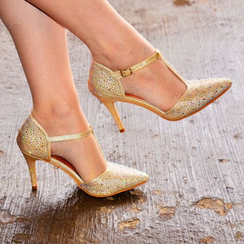Ladies Diamante High Heel Shoes T Bar Ankle strap Pointy Toe Court Shoe Size 3-8