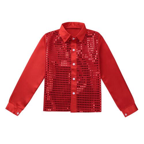 Kinder Jungen Pailletten Shirt Langarmshirt Disco Hemd für Fasching Party Show