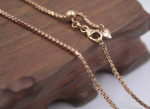 Pure 18k Rose Gold Necklace 2mm Round Box Link Chain 19.7inch Adjust Length | eBay
