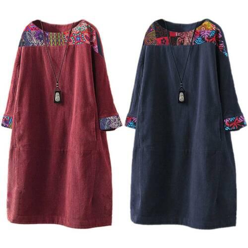 Plus Size Women Vintage Corduroy Pockets Loose Casual Baggy Short Dress Kaftan