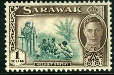SARAWAK-1950 $1 Green & Chocolate Sg 183 MOUNTED MINT V9428