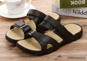 b0ac963b3 Image is loading Mens-Summer-Leather-Slippers-Slip-On-Leisure-Sandals-