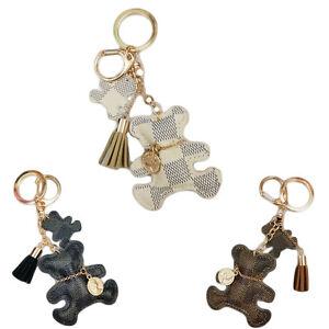 Fashion Teddy Bear Leather Tassel Key Ring Car Bag Charm Keyring ... 3a96ae945dcc