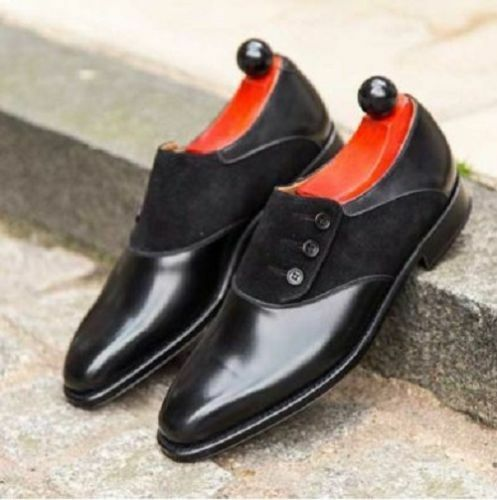 MEN NEW HANDMADE SUEDE LEATHER SHOES SHOES SHOES BUTTON BLACK DRESS FORMAL SHOES 465afe