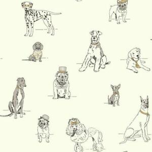 Wallpaper Dogs Life Cute Black Line Drawings Grey Gold Ink On