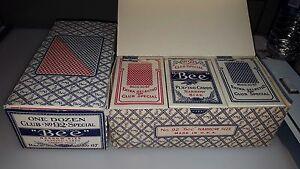 1-ORIGINAL-BOX-12-PACKS-NOS-SEALED-VINTAGE-BEE-PLAYING-CARDS-NO-92-67-BACK