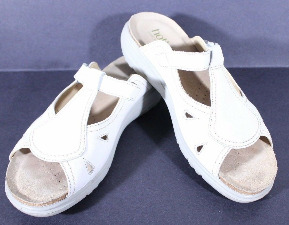 HOTTER Size 9M MIRAGE White Leather Sandals Made In England  7UK  41EU