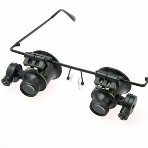 Eye Glass Magnifier Magnifying 20x Double Lens with LED Light