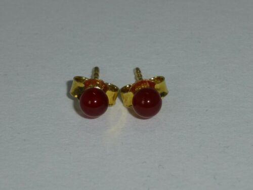 Ohrringe Ohrstecker Karneol Kugel Rotbraun Silber 925 Gold verschiedene Grössen