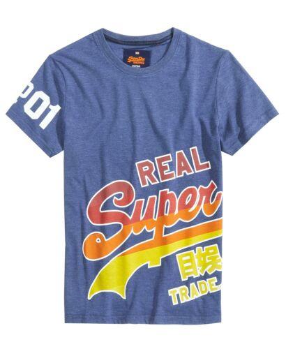 $195 SUPERDRY Men/'s BLUE CREW-NECK SHORT-SLEEVE GRAPHIC LOGO COTTON T-SHIRT L