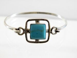 Taxco-Mexico-Sterling-Silver-Turquoise-Enamel-Hinged-Bangle-Bracelet-925