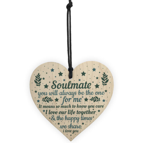 Soulmate Gifts Wood Heart Valentines Day Gift Anniversary Soulmate Birthday Xmas