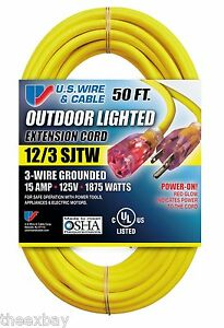 50 12 3 Foot Heavy Duty Lighted Ends Electrical Extension