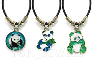 Lot of 12 wholesale cute panda mood necklaces multi color for Fashion jewelry that won t change color