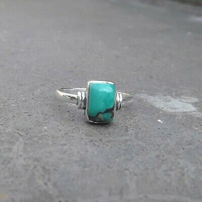 Turquoise Stone Solid 925 Sterling Silver Ring Anxiety Ring Meditation Ring SR01