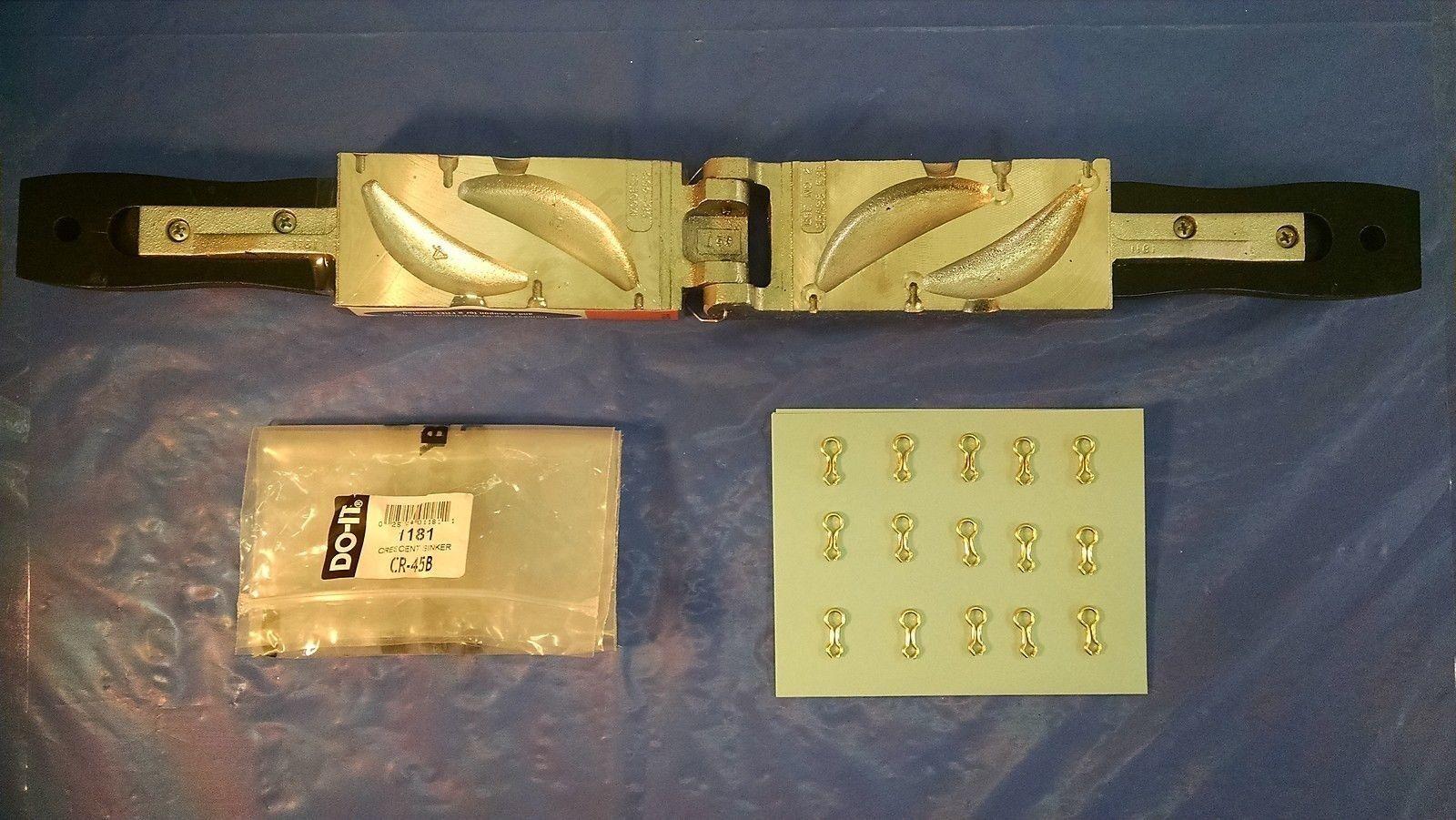 1182 NEW DO-IT SINKER MOLD CRESCENT SIZE 6 oz., CR-6-B, w 15 pcs. eyes