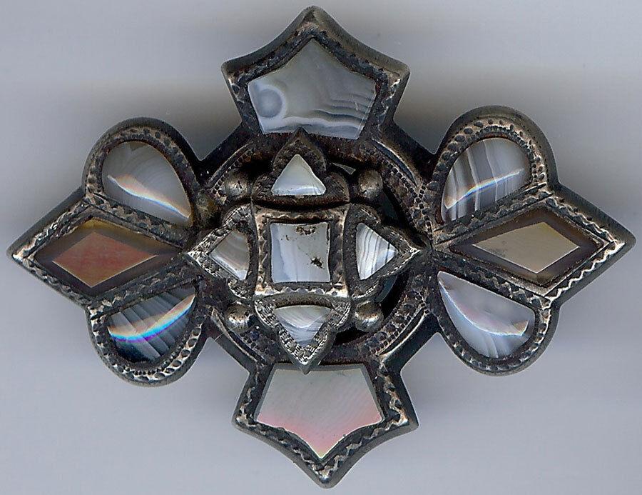 Antico Vittoriano Scozzese argentoo argentoo argentoo Sterling Strati Agata Spilla 2870c5