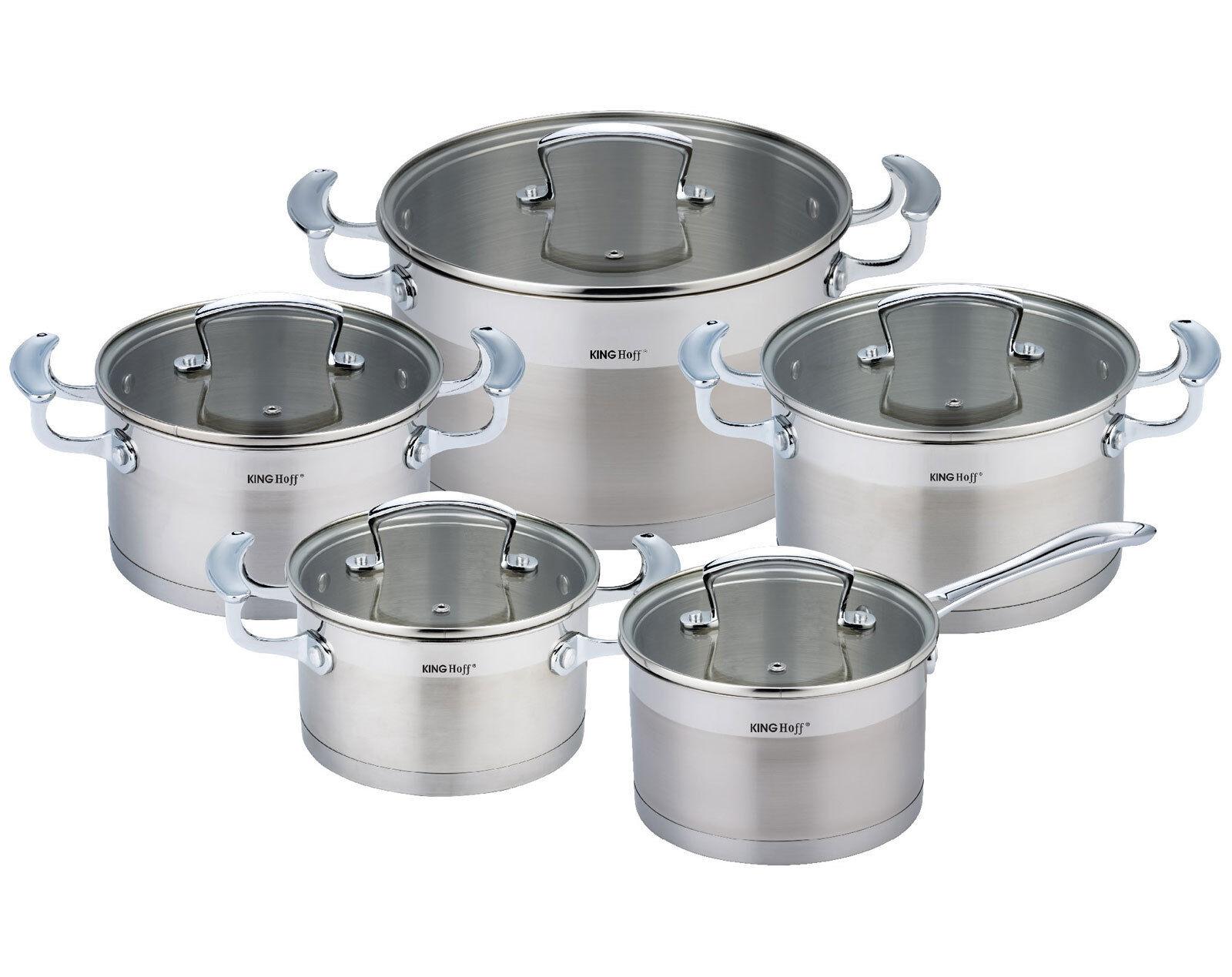 Casseroles Avec Couvercle 10 pièces induction casserole Lot de Casserole Set kinghoff kh-1201