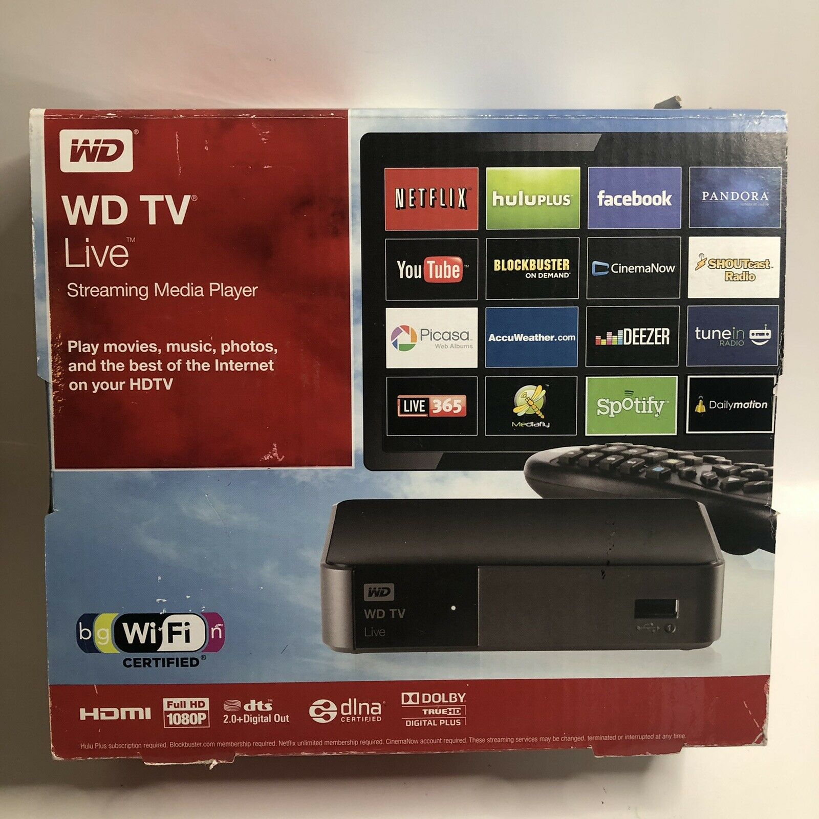 New Open Box WD TV Live Streaming Media Player WDBHG70000NBK-HESN box live media new open player streaming