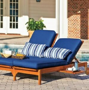 Double EUCALYPTUS CHAISE LOUNGE CHAIR Outdoor Deck Patio ...