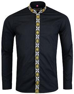 Nueva-Inglaterra-Madcap-para-hombres-Camisa-Retro-Mod-60s-Mandarin-Collar-Avory-Negro-MC299