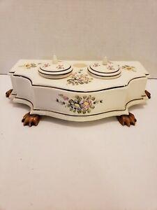 Vintage-Sadek-Japan-Andrea-7458-Ceramic-Inkwell-Pen-Holder-Floral-Design